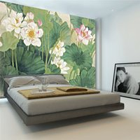 Silk cloth paintings lotus flowers - Elegant Lotus painting Photo Wallpaper D FLowers wallpaper Chinese style Wall Mural Bedroom Study Kid Living room decor Art Home Decoration