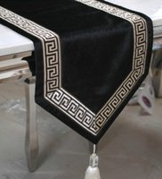 black velvet tablecloth - Upscale black gold velvet table runner table cloth tablecloths Chinese modern minimalist table flags bed flag