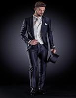 chaleco marfil al por mayor-Venta al por mayor - traje formal del otomano de rayas azules con marfil jacquard chaleco hecho a medida novio esmoquin padrino traje de boda traje