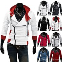 suikastçilerin inançlı hoodie renkleri toptan satış-Marka Hoodies Erkekler Rahat Spor Adam Fermuar Uzun kollu Kazak Erkekler Beş Renkler Slim Fit Erkekler Hoodie Mens Assassins Creed 3 Desmond M