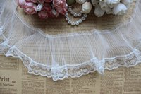 Wholesale Trims For Sewing - Lace Trim Chiffon Pleated Ruffled Lace Trim for costume Crafts and Sewing 8cm Width 10 yards Lot