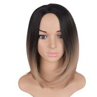 pelucas de cabello verde al por mayor-Mtmei pelo Ombre Bobo pelucas 10 pulgadas 160g sintético verde púrpura plata gris marrón cortocircuito peluca recta para mujeres negras / blancas