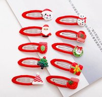 Wholesale Mixed Design Hair Clip - Christmas Hair clips snap clips for baby toddlers girls children cute designs mix up kids Christmas Hair accessories wholesale free shipping
