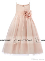 Wholesale Baby Blush - 2016 Blush Pink Flower Girl Wedding Dresses Spaghetti Straps Handmade Flowers Floor Long Little Kids Baby Communion Ball Gown Real Photos