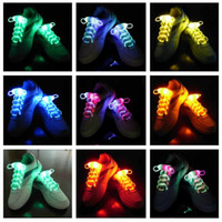 Wholesale Light Up Shoelace Glow - 10pcs(2pcs=1pair0Third generation LED Flashing Shoe Lace Fiber Optic Shoelace Luminous Shoe Laces Light Up Flash Glowing Shoes lace Colorful