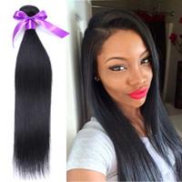 Wholesale pcs hair weave 34 inch resale online - 4 Bundles Brazilian Straight Hair Human Weaves g Natural Black Brazilian Virgin Hair Straight Bundles Hair Wefts Brazilian Wefts