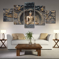 Wholesale Paint Brush Pictures - Five Parts Of Buddha Statue Decorative Painting Living Room Bedroom Sofa TV Background Wall Oil Ink Brush Spray Painting