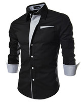 Wholesale Long Sleeved Black White Collared Dress - Large Size Men Shirt 2015 New Brand Mens Dress Shirts Men's Fashion Casual Long-Sleeved Shirt Blouse Men blusa masculina M ~ XXXL