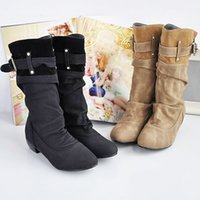 Wholesale Wholesale Western Shoes - Wholesale- Western Cowboy Boots Round Martin Boots Shoes Women Over The Knee Boots Plus Size 12 Z068