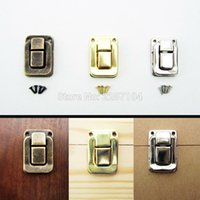Wholesale Furniture Chests - Wholesale- 6pc Antique brass Silvery Golden Decor Jewelry Chest Gift Box furniture Case Leather Bag Suitcase Hasp Latch Toggle Lock Clasp