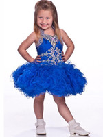 Wholesale pageant dresses children cupcake for sale - Group buy Cupcake Pageant Dresses Girls Purple Ball Gowns Organza Beaded Crystals Short Children Flower Girl Special Party Dress