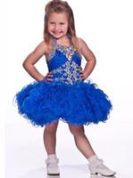 çocuk yarışması mor elbiseler toptan satış-Cupcake Pageant Elbiseler Kızlar Mor Abiye Organze Boncuklu Kristaller Kısa Çocuk 2019 Çiçek Kız Özel Parti Elbise Ücretsiz Kargo