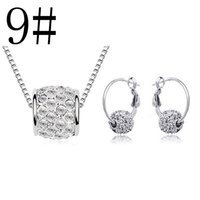 Wholesale Mixed Acrylic Pearl Beads - 13 styles mixed High quality Austrian crystal jewelry set Lucky bead necklace and earrings fashion Women Crystal Jewelry set