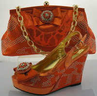 Wholesale Orange Sew Stones - Wholesale-FREE SHIPPING!Hot sell orange matching bags and shoes for women,ME0017,Italy matching shoe and bag set with shinning stones