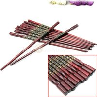 Wholesale Chopstick Bamboo - 5 pairs Chinese Traditional Auspicious Wood Carved Chopsticks Tableware Hot Sale