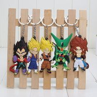 Wholesale Dragon Balls - 5pcs set Anime Dragon Ball Z Super Saiyan Son Gokou Vegeta Keychains PVC Key Chains Pendant