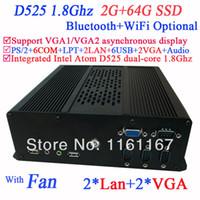 Wholesale Mini Pc Intel Atom Dual - Wholesale-mini pc computer itx with 2*VGA 2*LAN 6*COM multi function NM10 Intel Atom D525 dual-core 1.8Ghz CPU included 2G RAM 64G SSD