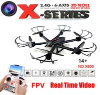 Wholesale rtf wing resale online - Upgrade FPV drone MJX X600 G Axis RTF RC Quadcopter Drone Can Add C4005 Camera with one key return button
