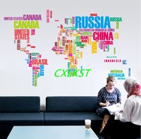 Wholesale Famous Quotes - DIY Wall Stickers Letter World Map Quote Removable Art Mural Home Decor Brand New Free Shipping
