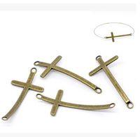 Wholesale fashion bracelet connectors - ancient bronze cross bending connector 5.4x2.4cm DIY bracelet and accessories popular fashion jelwery