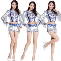 Wholesale Hip Hop Suits Girls - Women Sequined Sequined Hip Hop Dancing Outfit Costumes Girls Stage wear Ballroom Party Performance dancewear Jazz Clothing suit