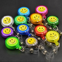 Wholesale Pull Reel Badge Holder - 1Pcs Smiling Face Retractable Pull Key ID Card Clip ID Badge Lanyard Name Tag Card Holder Recoil Reel For School Office Compan
