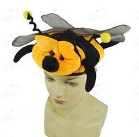 Wholesale Cheap Christmas Headwear - Wholesale-Cheap Cute Plush Bee Hat Cap Performance Headwear Plush Christmas Hat Gifts