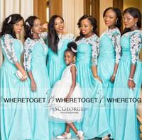 aqua blau lange brautjungfer kleider großhandel-Afrikanische Brautjungfernkleider Mit Langen Ärmeln Blau Aqua Formale Trauzeugin Kleider 2019 Chiffon Günstige Sexy Plus Size Weiße Spitzenkleider