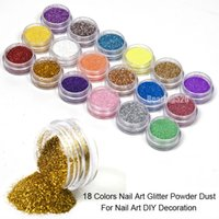 Wholesale Nail Tip Glitter Colors - Fashion 18 Colors Mix UV Gel Nail Art Glitter Dust Powder For UV GEL Acrylic Powder Nail Art Decoration Tips DIY Free Shipping