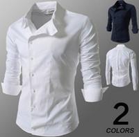Wholesale Slim Fit Designer Shirts Men - Summer men shirt brand designer Oblique buckle long sleeve casual shirts high quality slim fit cotton Turn-down Collar shirts