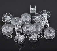 Wholesale Sew Bobbin - 100pcs Clear Plastic Bobbins Spools for Wire Thread String Sewing Accessories 20*11mm A00618S