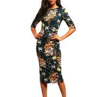 Wholesale mock neck dress - Wholesale- Vintage Women Casual Bodycon DressesGreen Mock Neck Floral Pencil Long Dress Vestidos Office Career Dress