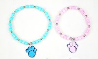 Wholesale Nice Pearl Necklace - Blue Candy Pearl Dog Cat Collar Necklace With Cute Dog Paw Cheap Nice Pet Collar Top Quality 2 Size Min Order 10PCS