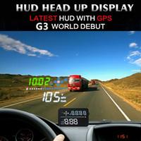 светодиодный многоцветный экран оптовых-Автомобильный универсальный HUD GPS Head Up Display 3,5-дюймовый спидометр автоматический многоцветный светодиодный экран предупреждение о превышении скорости проектор лобового стекла