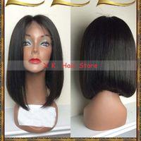 Wholesale Hand Cut Swiss Lace - fashion bob wigs peruvian human hair cut short bob Lace front wig Glueless Full lace wigs middle part human hair bob wigs