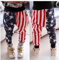 Wholesale Harem Pants Usa - new 2016 cool boys spring autumn Fashion us flag star Harem Pants Casual usa national flag long Pants 2-6years 5size choose free