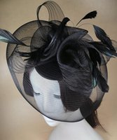 Gros-Black Flower Hat Fascinator Feather Mini Top Hats Gothic Accessoire