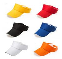 verstellbare baumwollstirnbänder großhandel-6 Design Sonnenblende Kappe einstellbar Sport Tennis Golf Stirnband Baumwolle Hut Hysteresenkappen einstellbare Teams Visier Hut 20 Stk