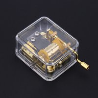 Wholesale Music Box Movement - Acrylic Transparent Musical Box Hand Crank Music Box High Quality Metal Movement Melody Castle in the Sky Exquisite Crafts I1158
