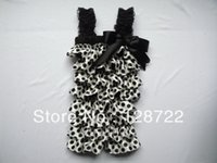 Wholesale Satin Petti Rompers - Wholesale-Adorable Baby Satin Ruffle Romper With Straps New Style Posh Petti Rompers with Ribbon Bow white black polka dots 3Size 3pcs lot