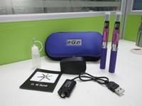 Wholesale Ego Cig Kits - Top eGo zipper case starter kit CE4 Double kits e cigs CE4 atomizer 650mah 900mah 1100mah battery cig vapor vs EVOD Kit DHL