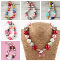 Wholesale Wholesale Pearl Necklace For Kids - childrens jewelry pendants chunky necklace for kids girls christmas gifts bubblegum beads jewellery toddler pearl acrylic chain necklace ins
