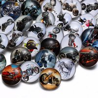 Wholesale Happy Easter Gift - 50pcs lot Hot wholesale Mixed Cool Motorbike Happy Birthday Theme Glass Snap Button Fit DIY Jewelry 18mm Snaps Bracelet For Women Gift