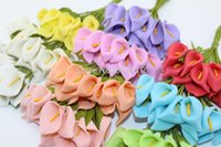 Expédition gratuite tête de 2.5cm Multicolor pe main mousse Calla Lily fleur Bouquet / Scrapbooking fleurs de lys artificielle (144pcs / lot)