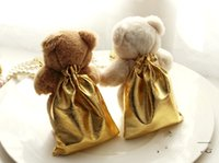 Wholesale Teddy Bear Wedding Decorations - Novety Wedding Ivory Teddy Bear candy bag candy wedding favors gift holder Candy Gift Bag Xmas wedding Party Decorations