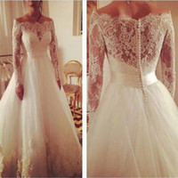 Wholesale White Wall 14 - 2016 Charming Full Lace Wedding Dress Boat Neck Long Sleeves Button SWeep Train Wall 2015 Bridal Gowns Free Shipping