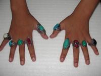 anillos tibetanos de la joyería de la turquesa al por mayor-2015 venta caliente de la vendimia anillos de piedras preciosas elegantes anillos tibetanos joyería de moda anillos de piedras preciosas de la vendimia turquesa anillos mezclar 30 estilos 30 unids / lote