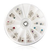 Wholesale Wholesale Nails Dangle - Fashion 24 Pcs Metallic Rhinestone Nail Art Designs Tools Acrylic Tips UV Gel Decorations Dangles Rings Wheel 12 Styles Hotting