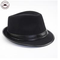 Wholesale Fedora Hats For Dancing - Wholesale-Cool Men's Fedora Hat Summer Jazz Fedoras Hat For Men classic dancing winter wool caps gentleman black fedora