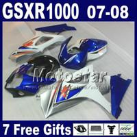 Wholesale High Quality Fairing Body Kit - High quality Fairing body kit for SUZUKI GSXR 1000 07 GSXR1000 08 K7 GSX-R1000 2007 2008 white blue black fairings set Hg16 + Seat cowl